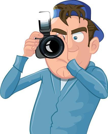 funny cartoon photographer vector set