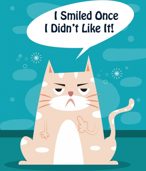 funny cat drawing flat colored design message decor