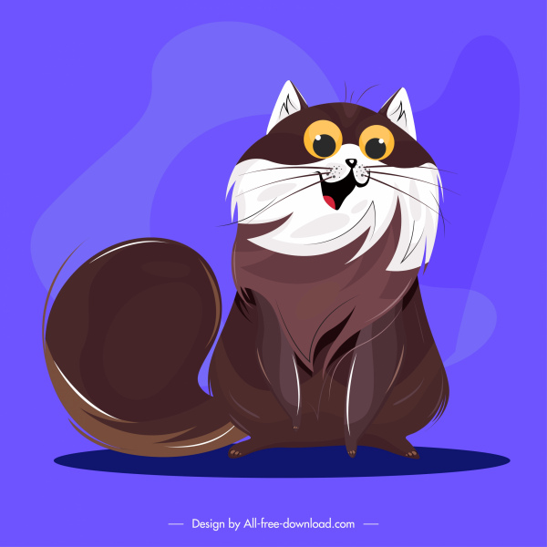 funny cat icon colored cartoon character sketch