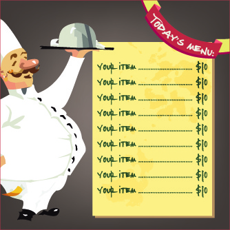 funny chef with menu template vector free vector in encapsulated