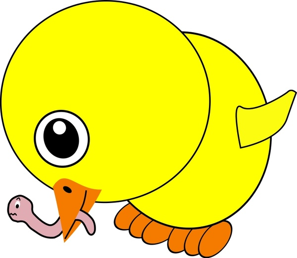 Funny Chick Eating Earthworm Cartoon