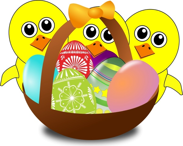 Funny Chicks Cartoon With Easter Eggs In A Basket Free