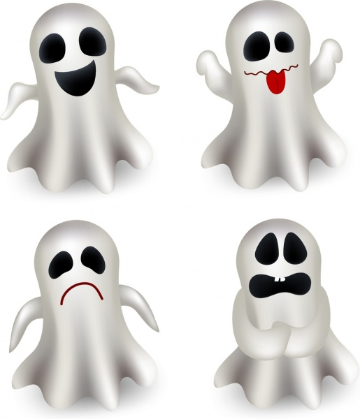 funny emoticon collection white ghost icons