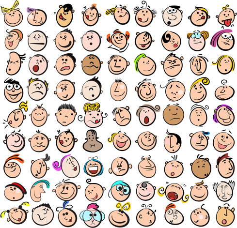 funny faces smile expression vector