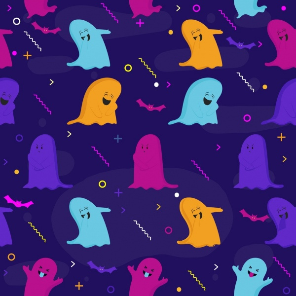 funny ghost background repeating icons pattern
