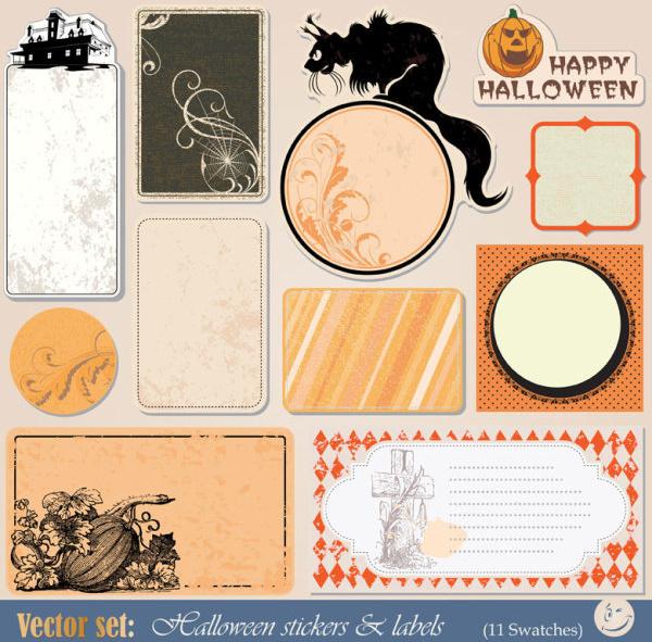 funny halloween labels vector