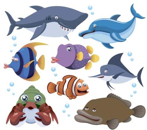 funny marine animal cartoon vectors set