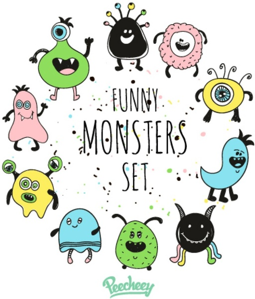 funny monster set free vector in adobe illustrator ai ai vector