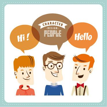 funny people speech bubbles vector design