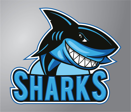 funny sharks logo design vector