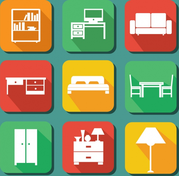 Interior Design Free Icons: Furniture Icons Collection Colored Flat Design Free Vector
