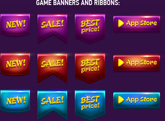 Game banners and buttons in psd file Free psd in Photoshop
