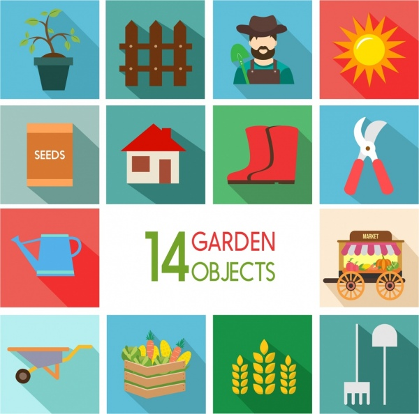 garden design elements colored objects icons isolation