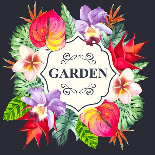 garden flower frame design art vector