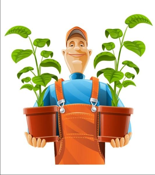 garden pruning work 02 vector