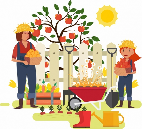 garden work background family farmer icons cartoon characters