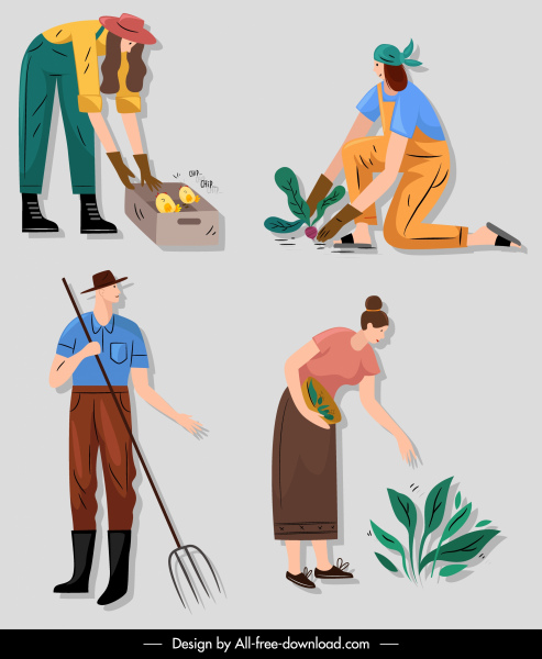 gardener icons colored cartoon characters sketch