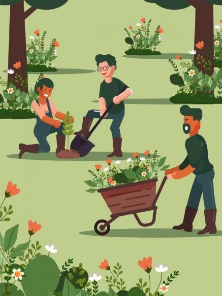 gardening background working people flowers plantation cartoon design