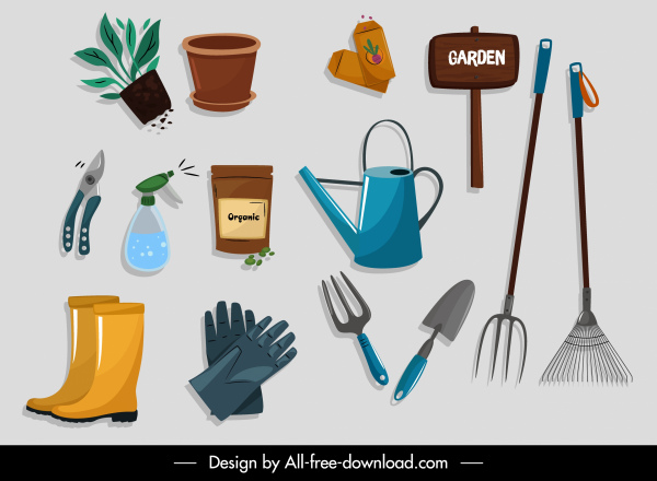gardening tools icons colored flat design