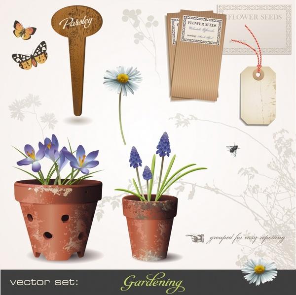 decorative elements classic flowerpots butterflies tag sketch