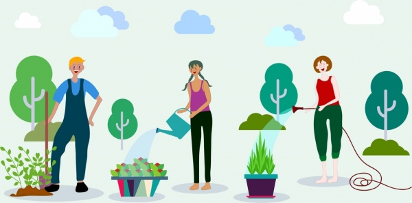 gardening work background human tree icons cartoon design