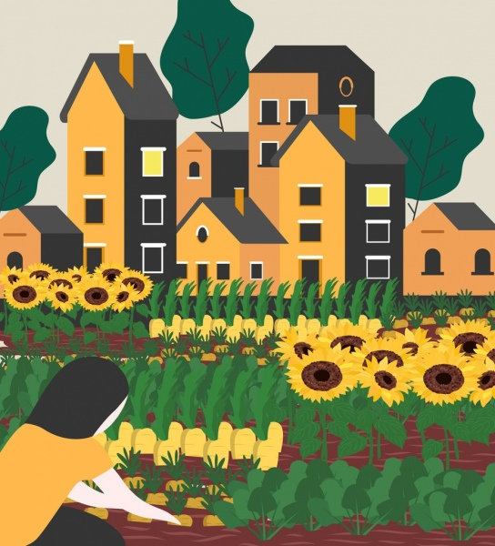 gardening work painting girl flowers icons classical design