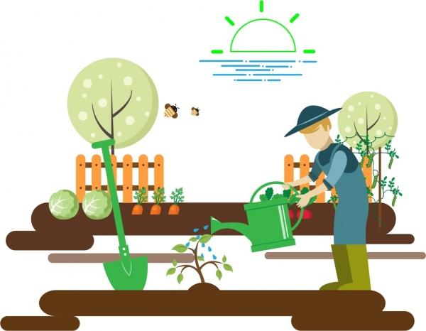 gardening work theme man growing tree sketch colorful design