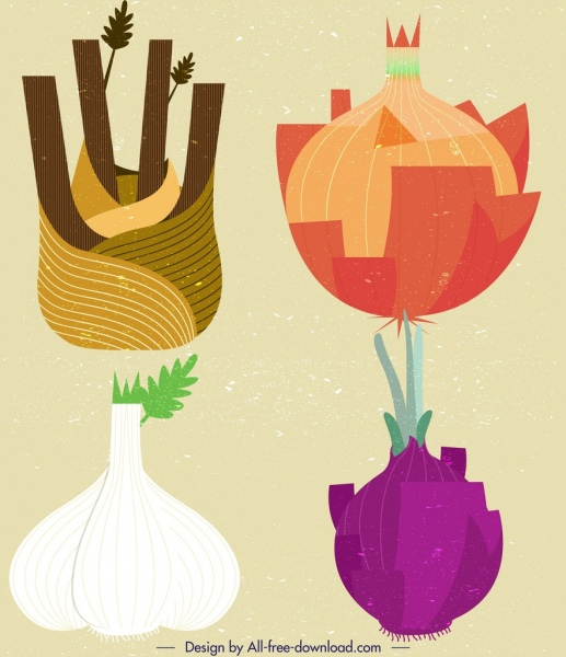 garlic onion vegetable icons colorful retro design