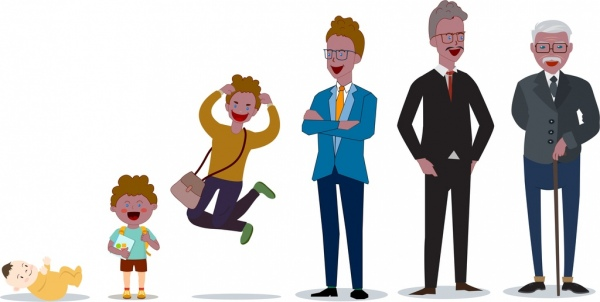 generation concept background boys men icons cartoon characters