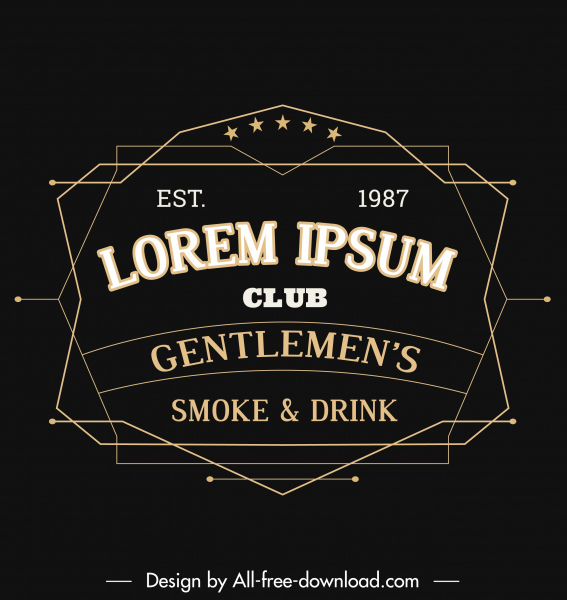 gentleman club logo template dark black classic symmetry