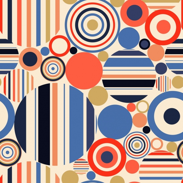 geometric abstract pattern colorful flat circles decoration