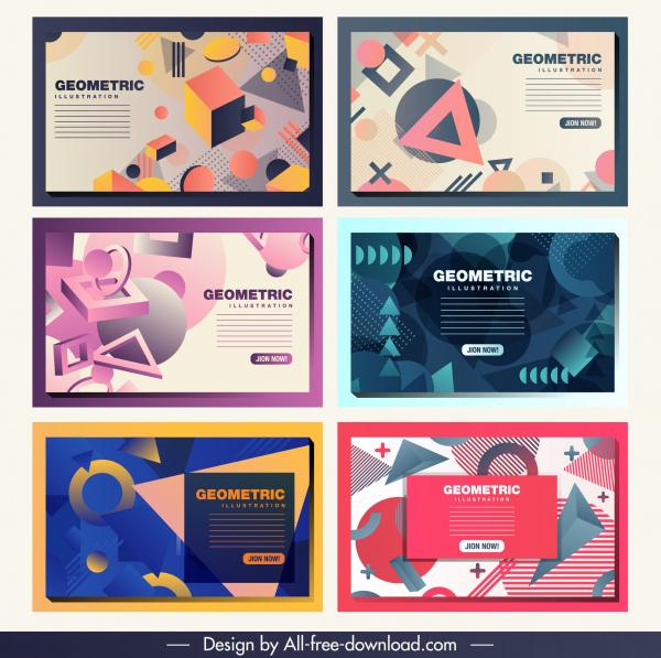geometric background templates modern dynamic 3d flat sketch