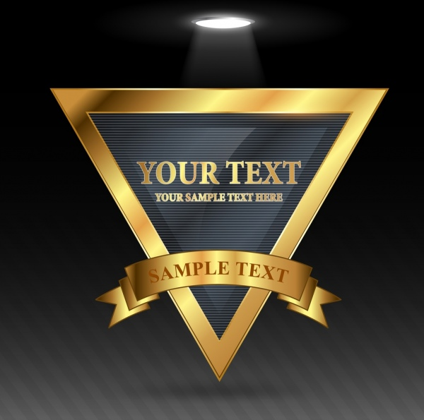 geometric banner template shiny golden triangle ribbon decor