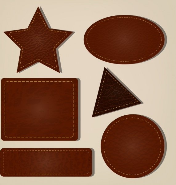 geometric icons collection brown leather pattern decoration