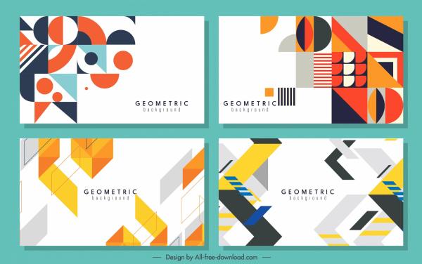geometrical background templates modern colorful flat decor