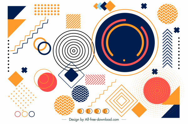 geometry background template colorful flat shapes sketch