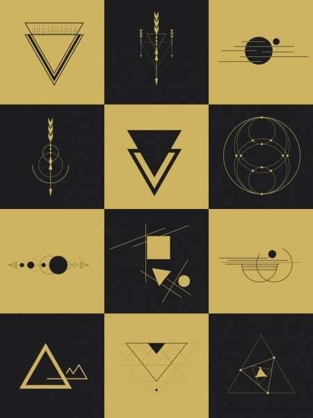 geometry design elements flat dark symbols isolation
