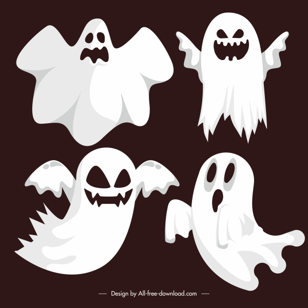 ghost icons scary white cloth shapes