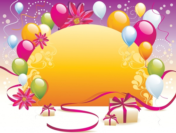 event background colorful balloons flowers presents icons decor