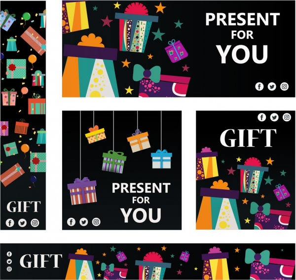 gift banners sets colorful shapes ornament