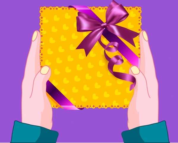 gift box background hand icon ornament