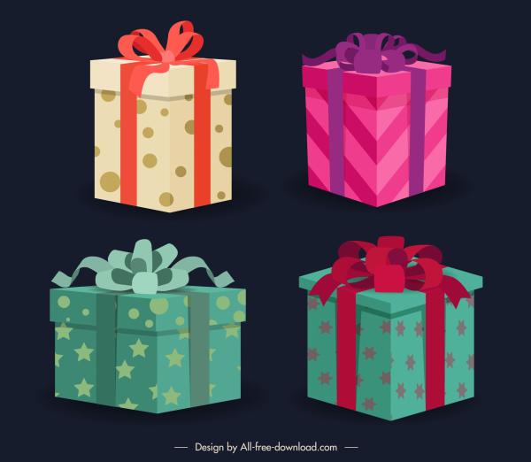 gift box icons 3d sketch colorful elegant modern