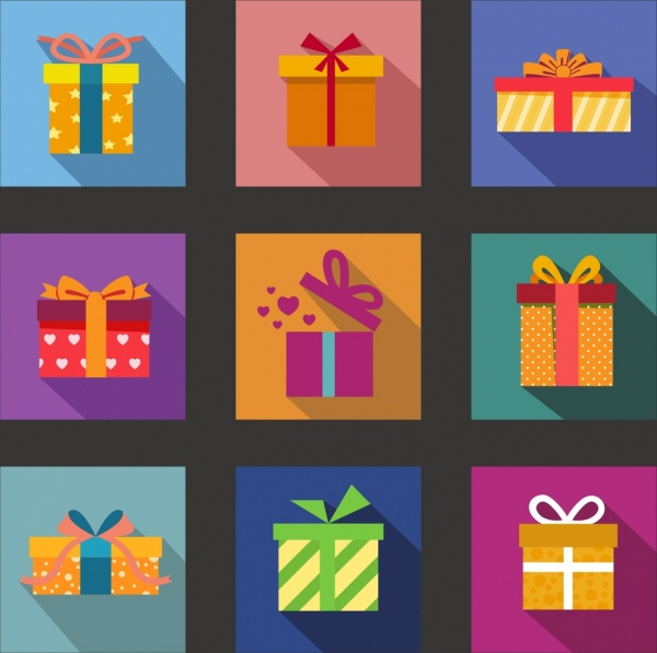 gift box icons collection various colorful isolation