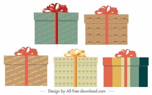 gift box icons colorful elegant classic decor
