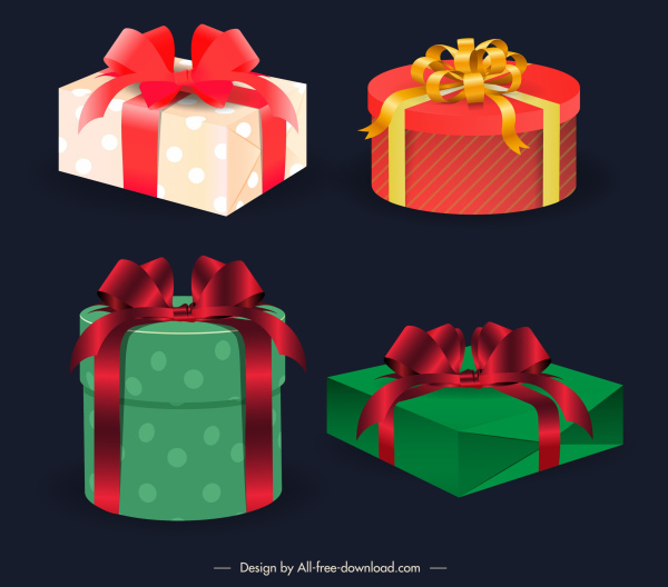 gift box icons elegant colored 3d shapes