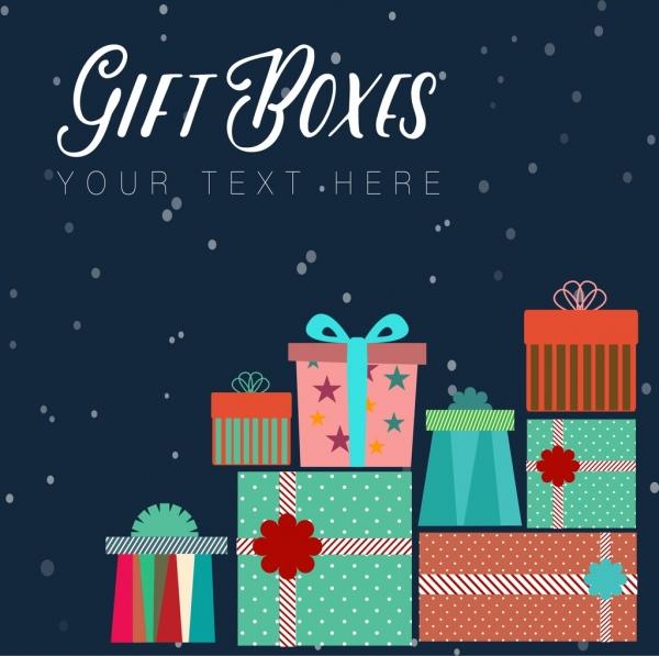 gift boxes background colorful flat symbols decoration