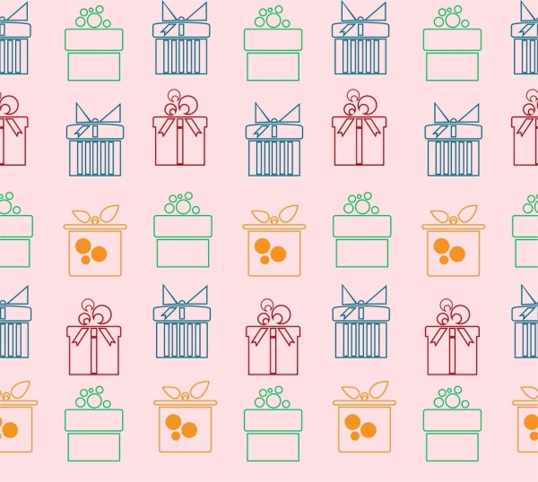 Gift Boxes Pattern Outline Colorful Flat Repeating Style Free Vector
