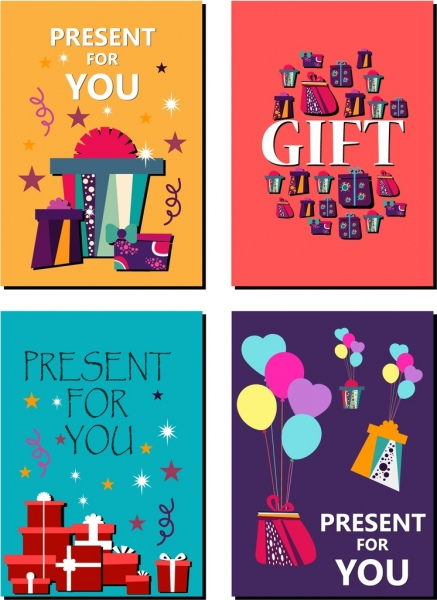 gift card background sets colorful symbols text ornament