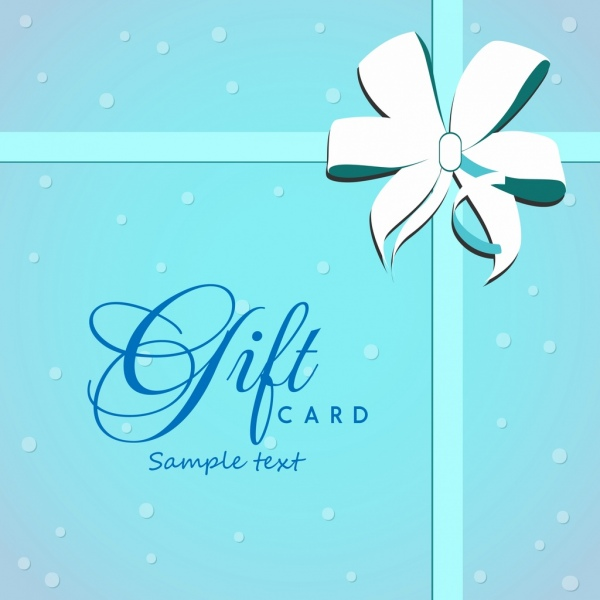 Gift Card Cover Background Bright Blue Ribbon Ornament Free Vector