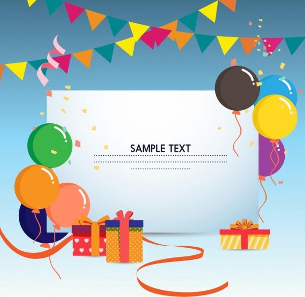 gift card template colorful balloons ribbon box ornament